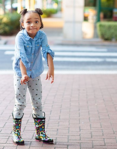 Oakiwear Kids Rubber Rain Boots with Easy-on Handles, Peace, Love & Rainbows, 6T US Toddler, Peace by Oakiwear (Image #6)