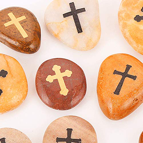 12pcs RockImpact Comfort Cross Engraved Worry Stones for Pray Faith Smooth Polished Natural River Rock Baptism Christening Holy Communion Gift Bulk lot (1 Dozen, 2-3 Inches Each) ()