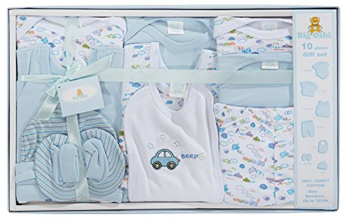 Big Oshi 10 Piece Layette Newborn Baby Gift Set for Boys - Great Baby Shower or Registry Gift Box to...