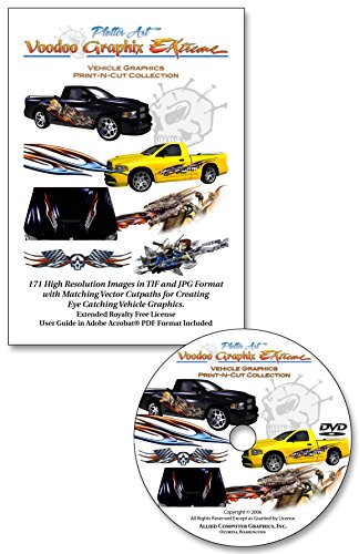 Plotter Art Voodoo Graphix Extreme Vehicle Graphics Print-N-Cut Collection, 171 High Rez Clip Art Images & Matching Vector Cut Paths on DVD-ROM with PDF User Guide - Extended Royalty Free License
