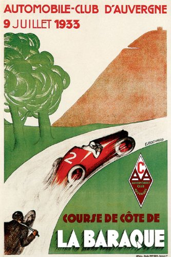 1933 AUTOMOBILE CLUB AUVERGNE AUTO CAR MOTORCYCLE MOUNTAIN ROAD RACE FRANCE VINTAGE POSTER REPRO ON CANVAS