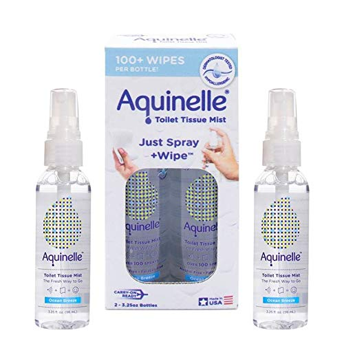 Aquinelle Toilet Tissue Mist Gift Set, Eco-Friendly & Non-Clogging Alternative to Flushable Wipes Simply Spray On Any Folded Toilet Paper (2 Pack Ocean Breeze 3.25 oz) (Best Non Clogging Toilet Paper)