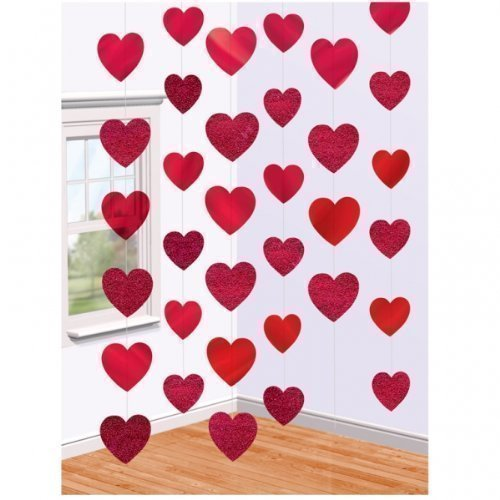 Valentines Day Red Hearts Hanging String Decorations x 6: Amazon ...