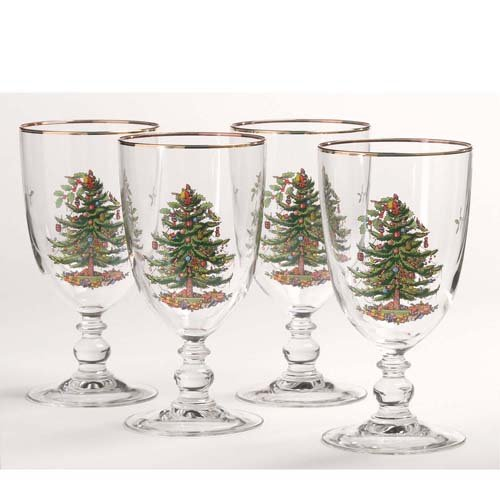 (Spode Christmas Tree Pedestal Goblets with Gold Rims, Set of 4 )