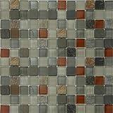 Glass Stone Mosaic Tile Backsplash - 11.40''x11.40'' Outback - Kitchen Bath Wall