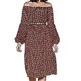 Women Plus Size Vintage Dress,Mosunx Ladies Slash Neck Long Lantern Sleeve Loose Dresses (S, Coffee)