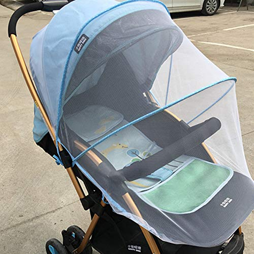 Maikouhai Baby Stroller Mosquito Net Full Insect Cover Carriage Children Foldable Kids Netting - Polyester/Cotton, 150cm (Blue)
