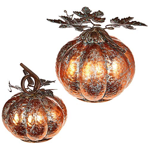 Metallic Patina Pumpkins Assorted Set of 3 Metal Tabletop Decorations