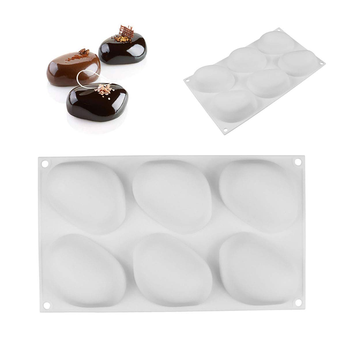 1 Pcs Silicone Elliptical Pebble Stone Baking Pan Cakes Mousse Dessert Mold