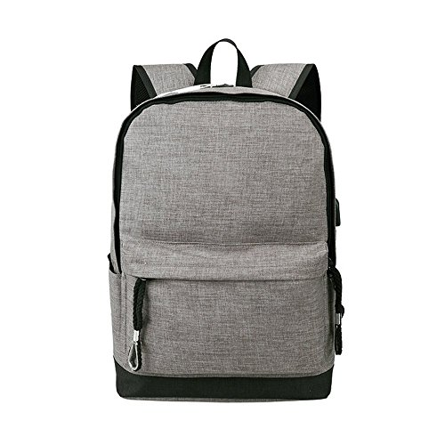 Laptop Backpack,Student Bookbag Daypack Travel Water Resistant School Bag with USB Charging Port for Women Men, Canvas Student Bag Fits Laptop and Notebook,Rucksack Daypack for Outdoor Camping Grey -