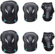 SANGKE Adult/Child Knee Pads Elbow Pads Wrist Guards 6 in 1 Protective Gear Set for Roller Skates Cycling BMX