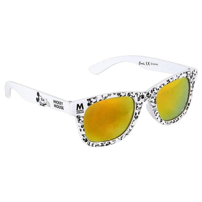 Mickey Mouse Gafas de Sol Niño Premium Disney | 3+ Años | Lentes Color Amarillo y 100% de Protección UV400 | Material ligero | Blancas y Negras