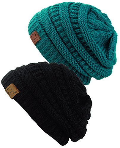- C.C Trendy Warm Chunky Soft Stretch Cable Knit Beanie Skully, 2 Pack Teal/Black