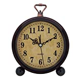Konigswerk Vintage Retro Old Fashioned Decorative Quiet Non-ticking Sweep Second Hand, Quartz Analog Large Numerals Desk Clock, Battery Operated, Loud Alarm (Classic)