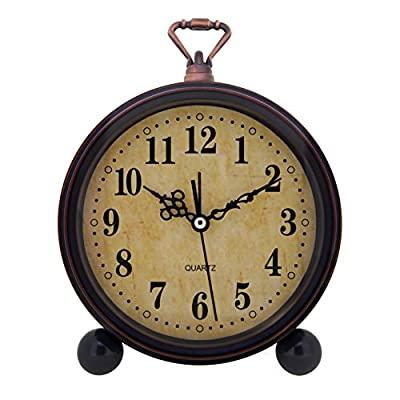 Konigswerk Slash Vintage Retro Old Fashioned Decorative Quiet Non-ticking Sweep Second Hand, Quartz Analog Large Numerals Desk Clock, Battery Operated, Loud Alarm - Retro classical design europe style clock, Vintage housing calls to mind 1940s-era designs. Vintage alarm clock, retro style takes you back to 80's. Bring home furnishing high-end elegant atmosphere. Non-ticking, quiet and smooth sweeping quartz movement and second hand, ensure a good sleep and best working environment - clocks, bedroom-decor, bedroom - 51KFMYH6oaL. SS400  -