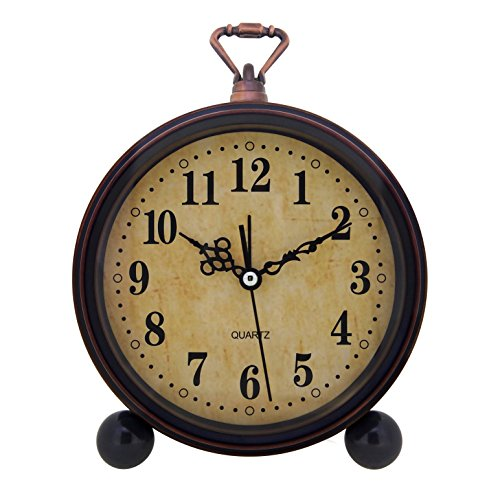 Konigswerk Vintage Retro Old Fashioned Decorative Quiet Non-Ticking Sweep Second Hand, Quartz Analog Large Numerals Desk Clock, Battery Operated, Loud Alarm (Classic) ()
