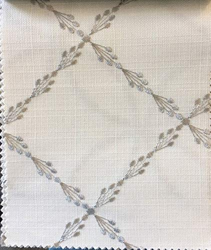 Relaxed Roman Shade Ryder Silver with geometric grey embroidery pattern on white background. Faux linen roman shade with chain mechanism. Custom made