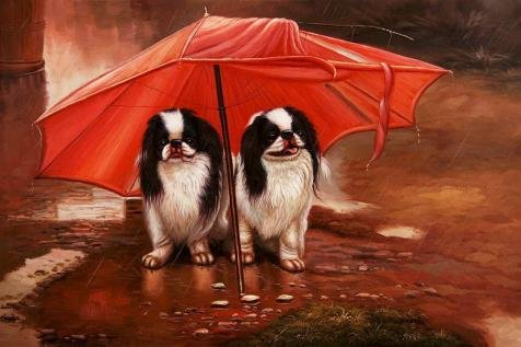 Oil Painting 'Two Dogs Under A Red Umbrella', 12 x 18 inch / 30 x 46 cm , on High Definition HD canvas prints is for Gifts And Bath Room, - Angeles Los Frames Eyeglass