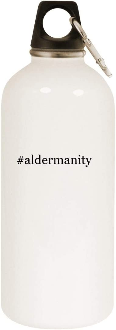 #aldermanity - 20oz Hashtag Stainless Steel White Water Bottle with Carabiner, White