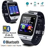 Indigi SW-SWAP-01 Universal Bluetooth Sync (iOS & Android) Smartwatch + Phone with Optional SIM + Pedometer + Camera + SMS Notify - Silver
