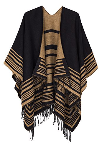 Urban CoCo Women's Printed Tassel Open front Poncho Cape Cardigan Wrap Shawl (Series 12-black)]()
