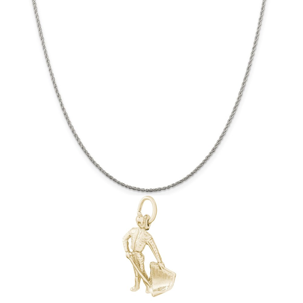 18 or 20 inch Rope Rembrandt Charms Two-Tone Sterling Silver Bull Fighter Charm on a Sterling Silver 16 Box or Curb Chain Necklace