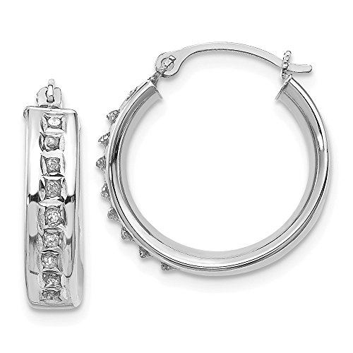14k White Gold Diamond Fascination Round Hoop Earrings Ear Hoops Set Fine Jewelry Gifts For Women For Her