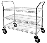 "Sandusky Lee MWS362438 Adjustable Wire Shelf Cart with Pull Handle, 800 lb. Maximum Capacity, 36"" Width x 38"" Height x 24"" Depth, Chrome"