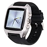 Ourtime X01 Wireless Smartwatch Android 4.4.2 OS with Camera Support T-Mobile 3G WCDMA SIM Card Heart Rate Monitor Bluetooth Watch - Silver and Black