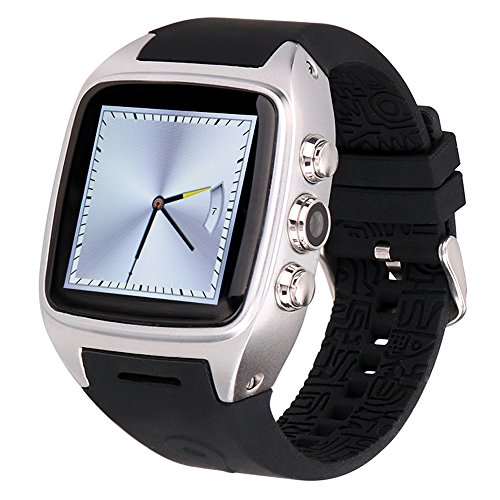 (Ourtime X01 Wireless Smartwatch Android 4.4.2 OS with Camera Support T-Mobile 3G WCDMA SIM Card Heart Rate Monitor Bluetooth Watch - Silver and Black)