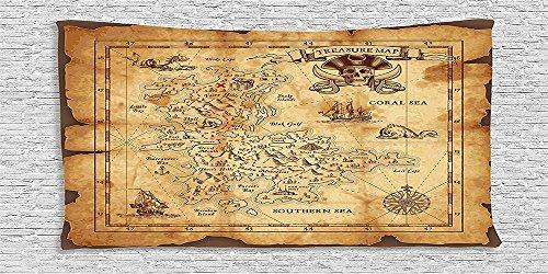 Cotton Microfiber Bathroom Towels Ultra Soft Hotel SPA Beach Pool Bath Towel Island Map Collection Super Detailed Treasure Map Grungy Rustic Pirates Gold Secret Sea History Theme Beige Brown