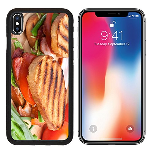 MSD Premium Apple iPhone X Aluminum Backplate Bumper Snap Case IMAGE ID: 31593491 Bacon lettuce and tomato BLT sandwiches with fresh ingredients at back
