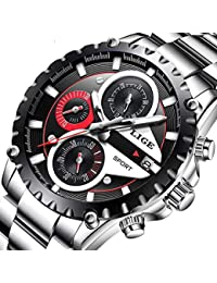 Mens Watches Sports Waterproof Analog Quartz Watch Fashion Stainless Steel Silver Black Chronograph Luxury Brand LIGE Calendar Round Watch
