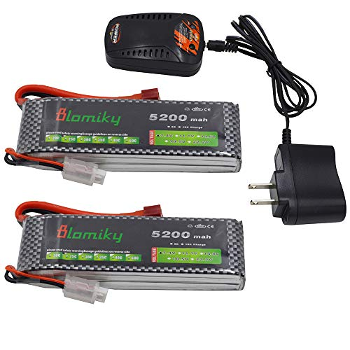 Blomiky 2 Pack 7.4V 5200mAh Lipo Battery with Dean Style T Plug and Charger for RC Quadcopter Drone and RC Truck Boat 7.4V 5200mAh T 2 ()