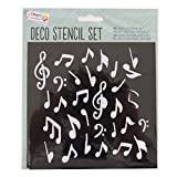 Craft Sensations Decorative Stencils Craft Art and Card Making - 5 Pack, Music, 4 Leaf Clover, Hats, Hearts, Bows
