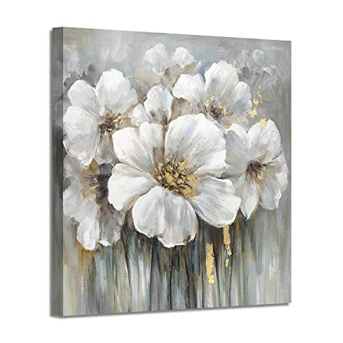"""Wall Art Floral Canvas Pictures: White Lily Abstract Flower Print on Canvas Artwork for Office Dining Rooms (24""""x24""""x1 Panel)"""