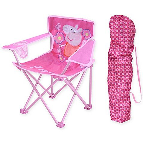 .Peppa Pig. Kids Indoor Outdoor Girly in Pink Folding Camping Chair, Includes Carry Bag For Travel, Perfect For Sports Events and Camping Trips! Measures 13.8'' W x 13.8'' L x 21.6'' H by .Peppa Pig.