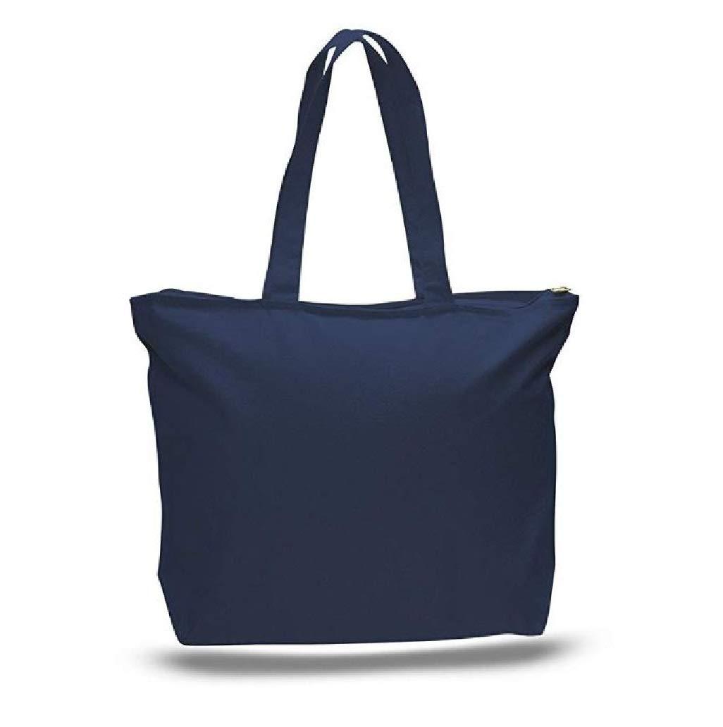 エコオンライン市場 12オンス 6個パック 大きなサイズ、頑丈な天然キャンバストートバッグ 卸売価格、食料品キャンバスバッグ ジッパートップジッパー付き 内側ポケットと長いハンドル ブルー  ネイビー B07HQXYTYK