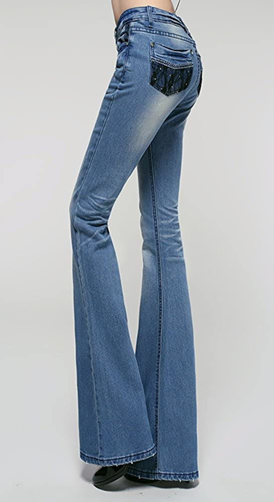 AvaCostume Womens Mid Waist Lace Poackets Slim Fit Bootcut Jeans