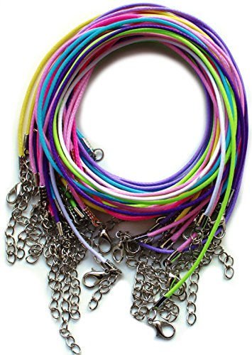 Amy's Craft Box 55 Mixed Color Cotton Braided Wax Cord Necklaces With Lobster Clasps Extended Chain 19 Inches with 5 extra by Amy's Craft Box