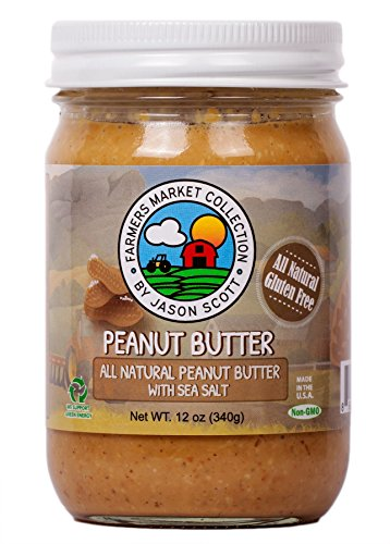 Jason Scott's All Natural Peanut Butter With Sea Salt - Vegan Gluten Free Non-GMO Zero Added Sugar Family Owned Brand