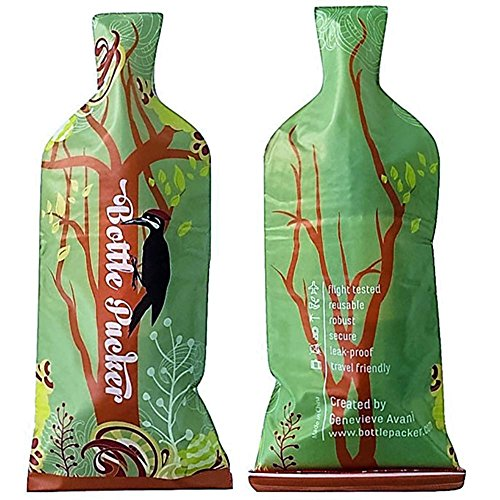 Reusable Wine Bottle Protector or Gift Bag with Inner Skin and Extra Tough, Leakproof Outer by Genevieve Avani