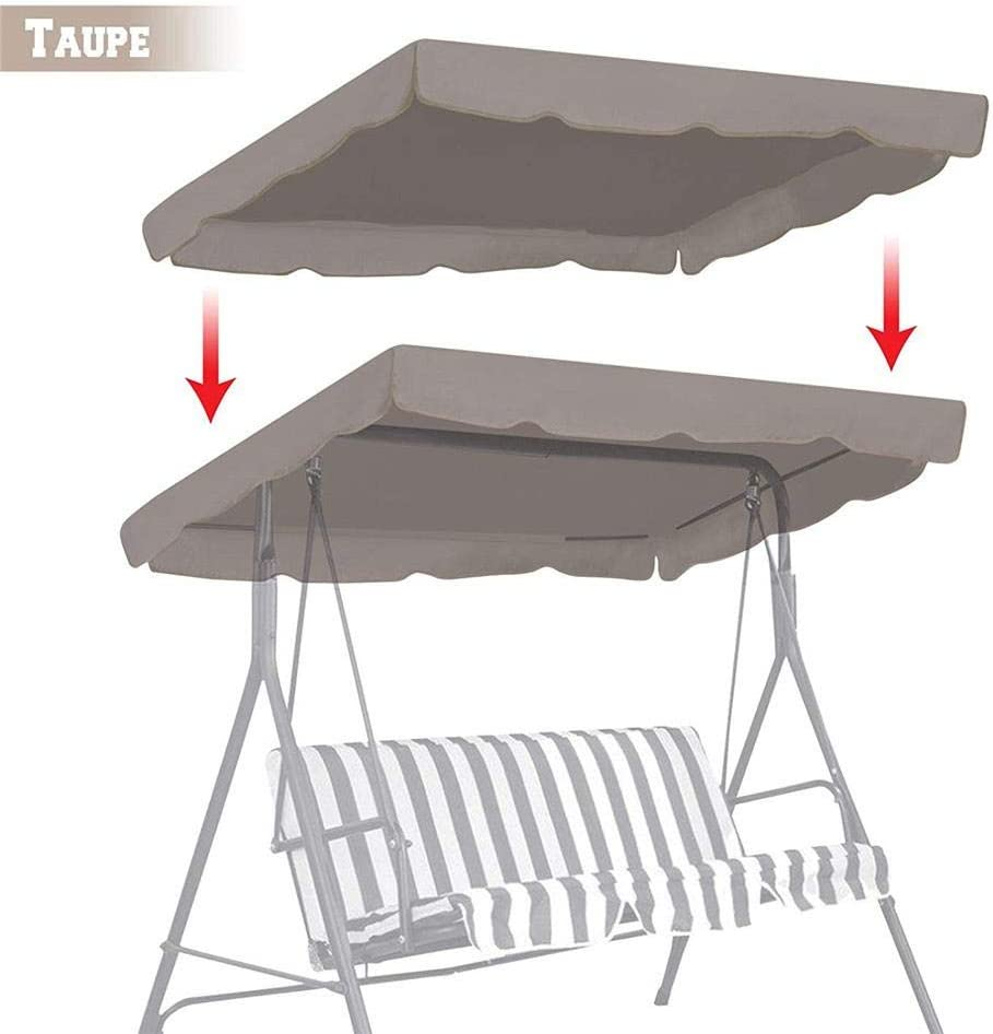 N/X Swing Canopy Replacement Waterproof Top Cover, Garden Winds Replacement Swing 3 Person Swing Replacement Canopy for Outdoor Garden Porch Yard 16411415CM