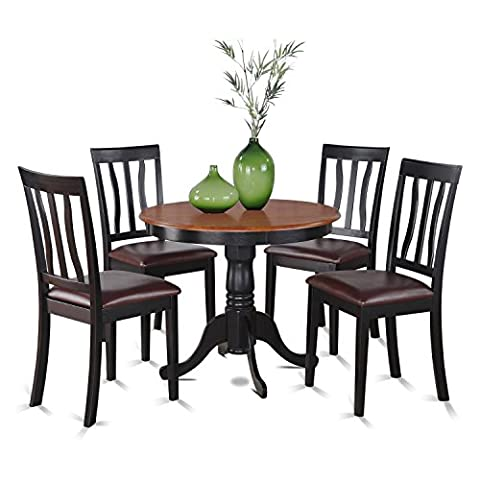 East West Furniture ANTI5-BLK-LC 5-Piece Kitchen Nook Dining Table Set, Black/Cherry Finish - Pub Table Dinette