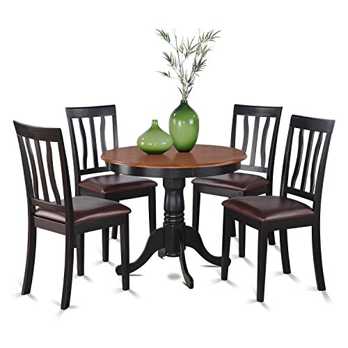 East West Furniture ANTI5-BLK-LC 5-Piece Kitchen Nook Dining Table Set, Black/Cherry Finish