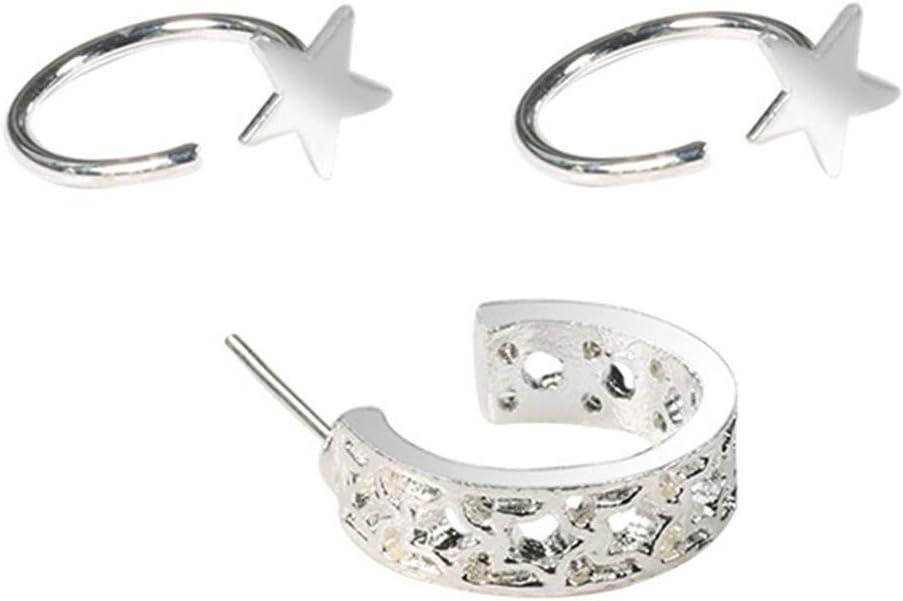 Sperrins Women Pentagram Stud Earring Set Personality Ear Cuff