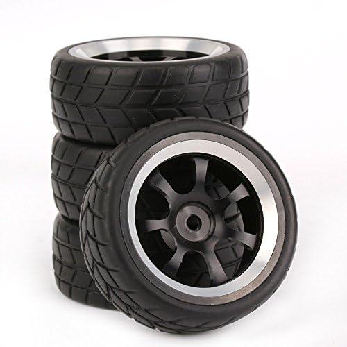 Mxfansブラックゴムタイヤと7-spokeアルミニウムホイールリムfor RC 1: 10オンロードレーシング車のセット4