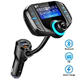 Comsoon Bluetooth FM Transmitter, Wireless In-car Radio Adapter Car Kit with Quick Charge 3.0 + 5V/2.4A Smart IC Dual USB Car Charger, 1.80 Inch LCD Display, TF Card Slot, AUX Input/Output