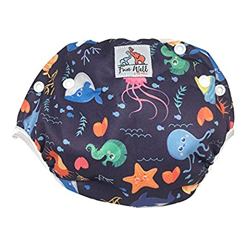 Fun Well Reusable Adjustable Baby Swim Diapers New Patterns Fits 8-36lbs Eco-Friendly Premium Quality Shower Gift Swim Lessons (Sea Life Blue Pink Orange Green Yellow)