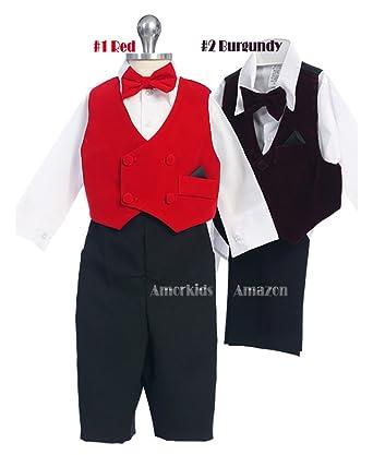 Amazon.com: Baby Toddler Boys Suit Vest Outfit Set - Red Velvet ...